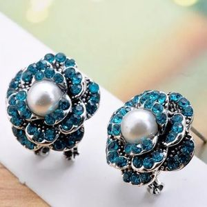 Jewelry - Coming Soon ! Blue Rose/Pearl Fashion Earrings